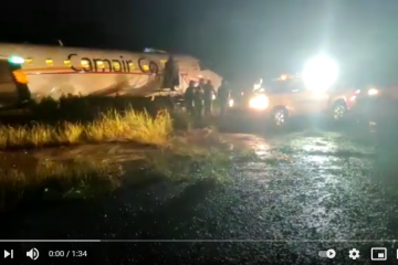 Video – Cameroon's flag carrier Camair-co airplane overshoots the runway